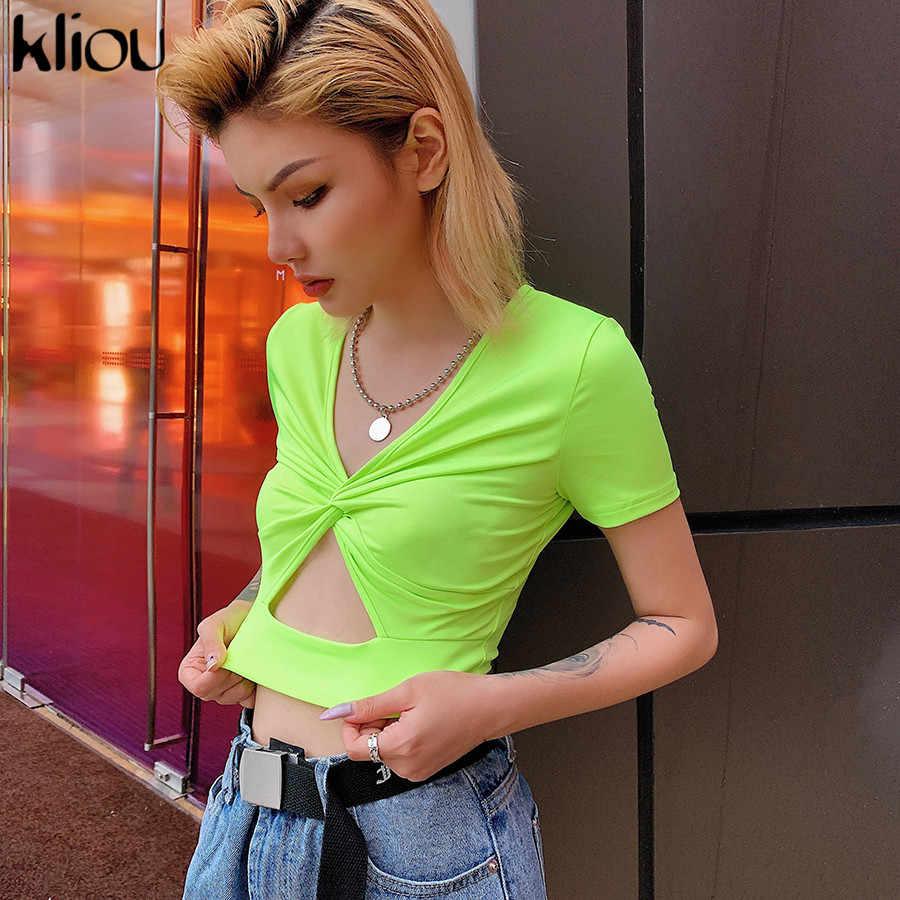 Kliou V-hals hollow out neon geel Shirts korte mouw 2019 zomer vrouwen fashion party casual streetwear vrouwelijke crop tops