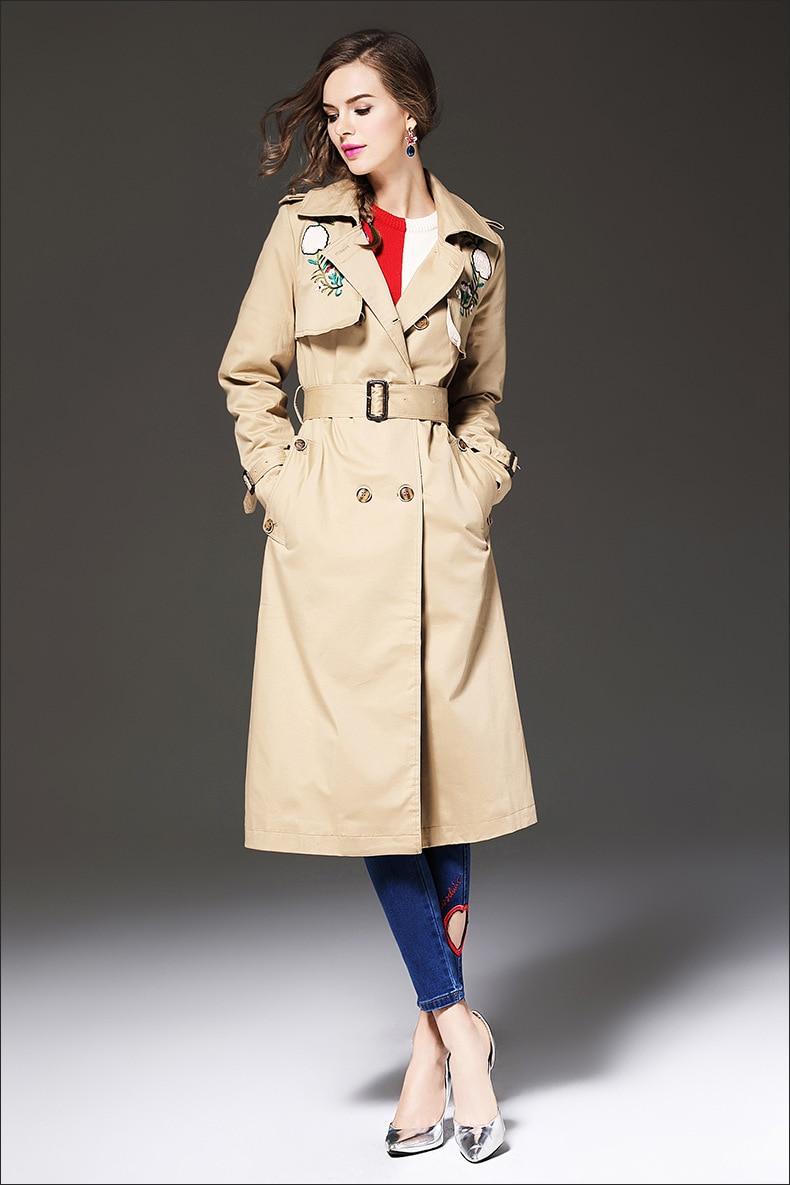 Women Trench Coat 2017 New Spring Autumn Double Breasted Trench Coats Slim Fashion Medium Long Windbreaker