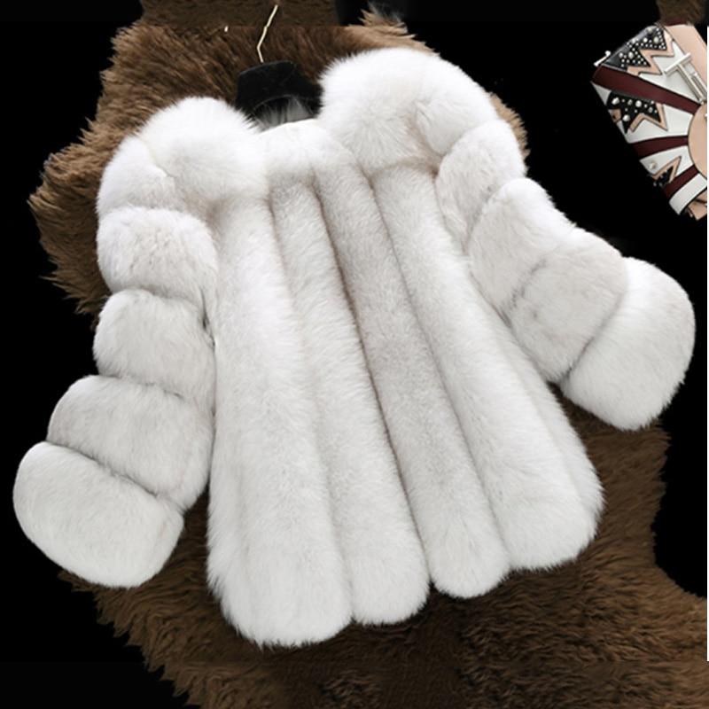 Fashion Silver Fox Real Fur Coat Thick Warm Blue Fox Womens Coats 2019 Winter Whole Skin Natural Fur O-Neck Elegant Costume