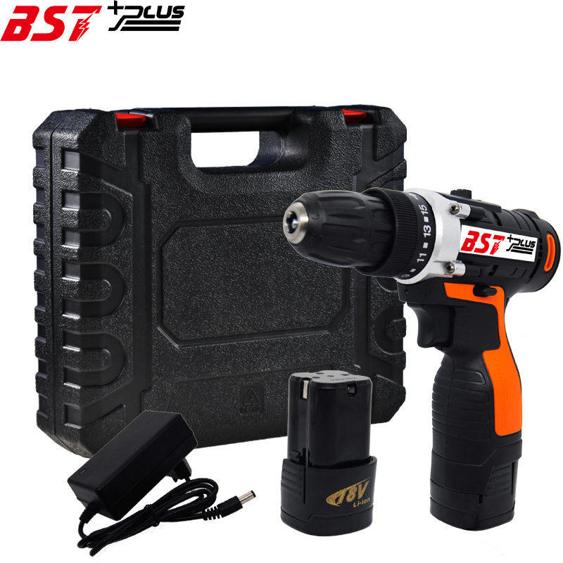 BST+PLUS(seven style) 18V LITHIUM BATTERY 2 SPEED CORDLESS DRILL MINI DRILL HAND TOOLS ELECTRIC DRILL POWER TOOLS SCREWDRIVER professional 24v double speed lithium battery cordless drill power tools mini drill electric drill with 2 year warrantly