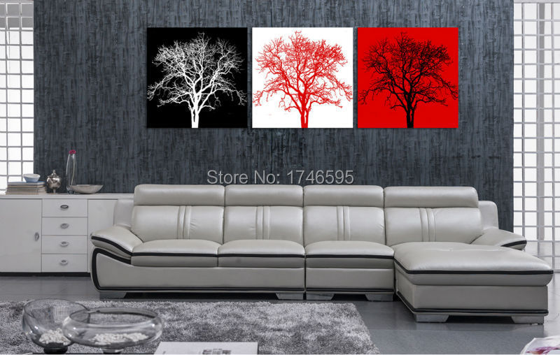 Big Size 3pcs Living Room Bedroom Wall Decor Home Decor Abstract Black White Red Tree Wall