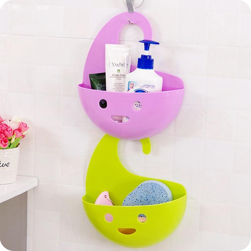 2pcs! Shower bath organizer hanging wall shelf Smile face small items chopsticks sponge holder Drain basket rack
