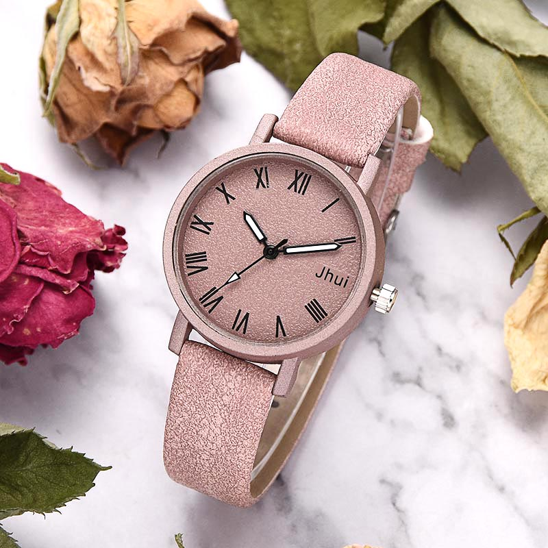 1 Pcs Women Watch Roman/Number Dial Quartz Wrist Watches Frosted PU Leather Band Casual Watches LL@17