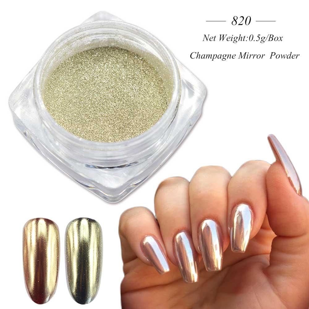 Зеркальный лак для ногтей, порошковая голографическая металлическая розовые, золотые, серебряные пылезащитные блестки, УФ-гель для ногтей, хромированное пигментное украшение CHC/ASX - Цвет: 820