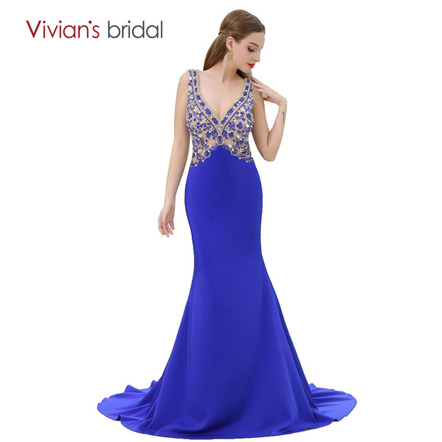 Mermaid Evening Dress Royal Blue Sequin Crystal Satin Evening Gown ...