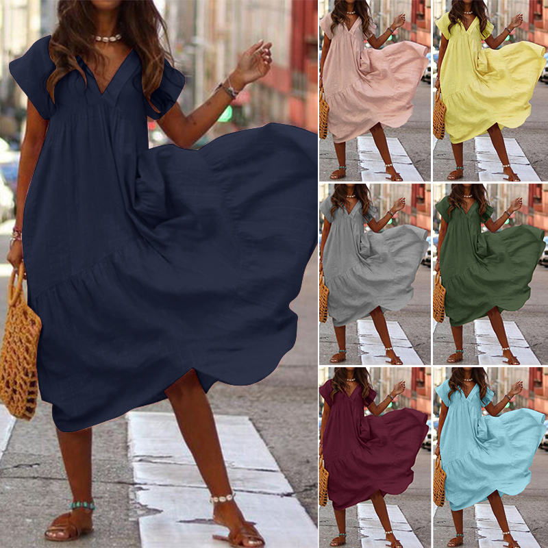 Plus Size Ruffle Dress Women's Asymmetrical Sundress ZANZEA 2019 Fashion Summer Maxi Vestidos Female Short Sleeve Robe Femme 5XL