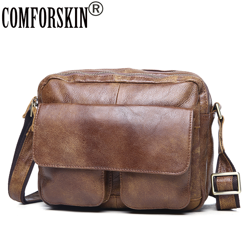 COMFORSKIN New Arrivals Genuine Leather Men Shoulder Bags Large Capacity Vintage Hot Male Messenger Bags with Adjustable Strap