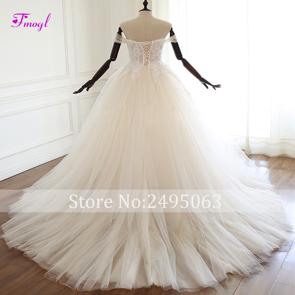 Fmogl Sexy Boat Neck Lace Up A Line Wedding Dress 2019 Gorgeous Appliques Beaded Princess Bridal Gown Vestido de Noiva Plus Size-in Wedding Dresses from Weddings & Events    2