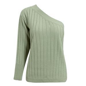 Image 5 - Женский вязаный свитер Misswim, зеленый ребристый джемпер на одно плечо, джемпер на осень и зиму, 2019