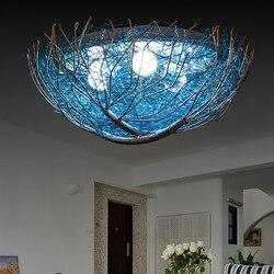 Kreatywny niebieski ptasie gniazdo lampy sufitowe pokój dziecięcy sypialnia styl śródziemnomorski oświetlenie oświetlenie restauracji ciepły romantyczny w Oświetlenie sufitowe od Lampy i oświetlenie na