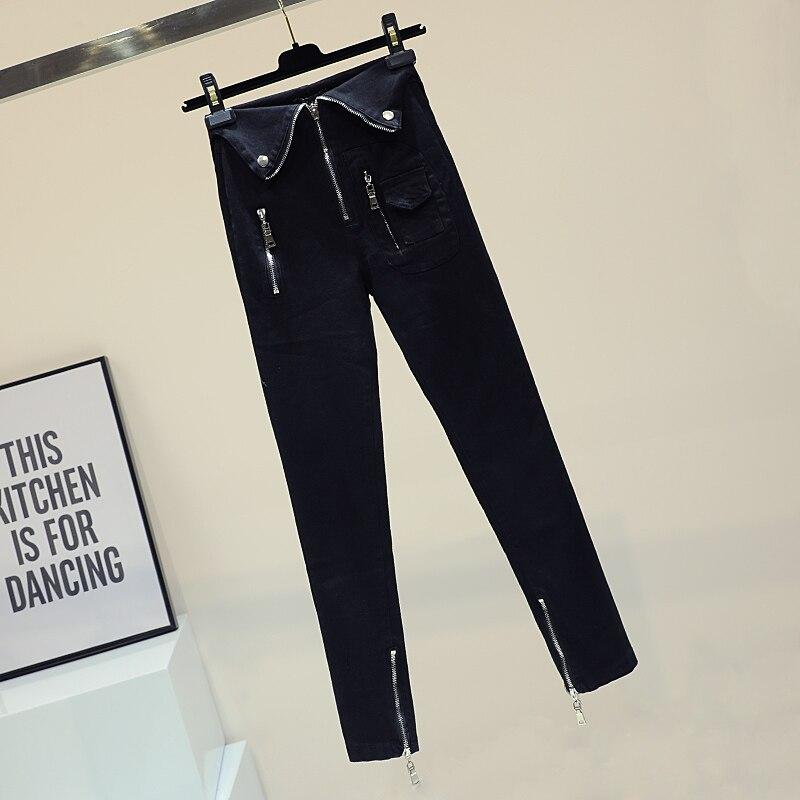 Joker Una Moral Brida De Estudiantes Vaquero Cultivar Cremallera Alta Mujer Amoi Lápiz Pantalones Negro Ventilación Cintura qw6Otpnx