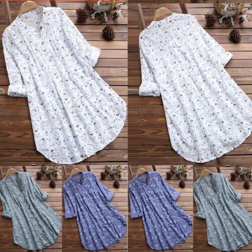 Plus Size Boho Women Long Sleeve Kaftan Baggy Blouse Tops Floral Long Shirt Tops Casual Tunic