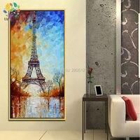 Hand Painted Palette Knife Oil Painting Eiffel Tower White Blue Paris Landscape Europe Canvas Picture For
