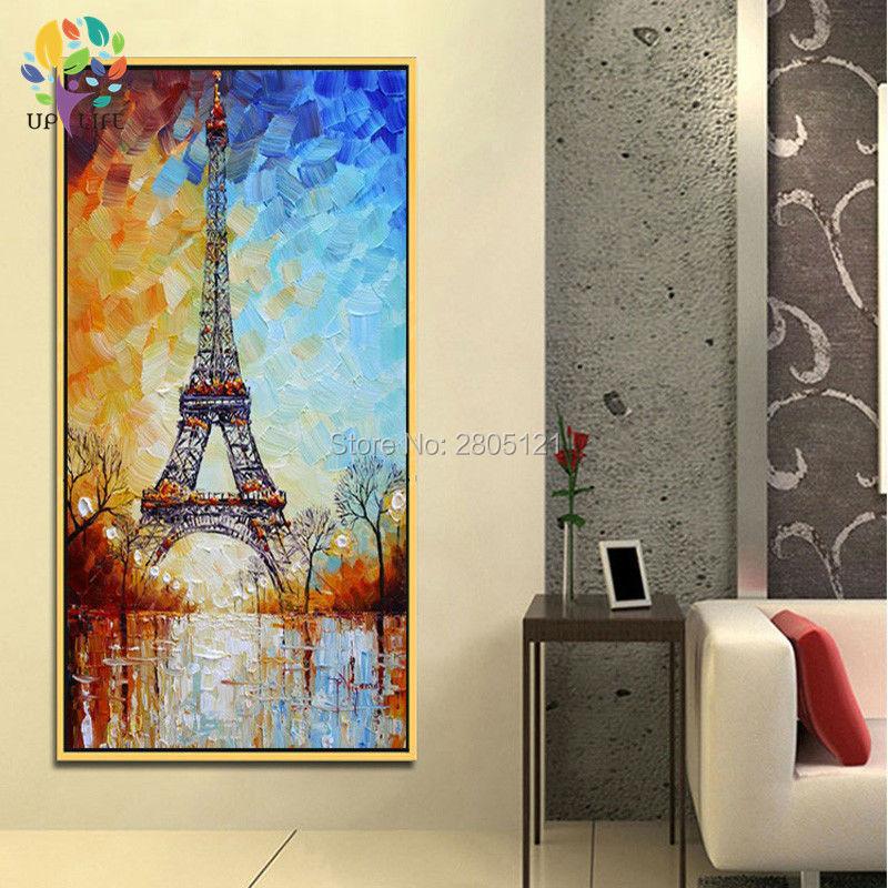 handmålad palettkniv oljemålning Eiffeltornet vitblått paris - Heminredning - Foto 1
