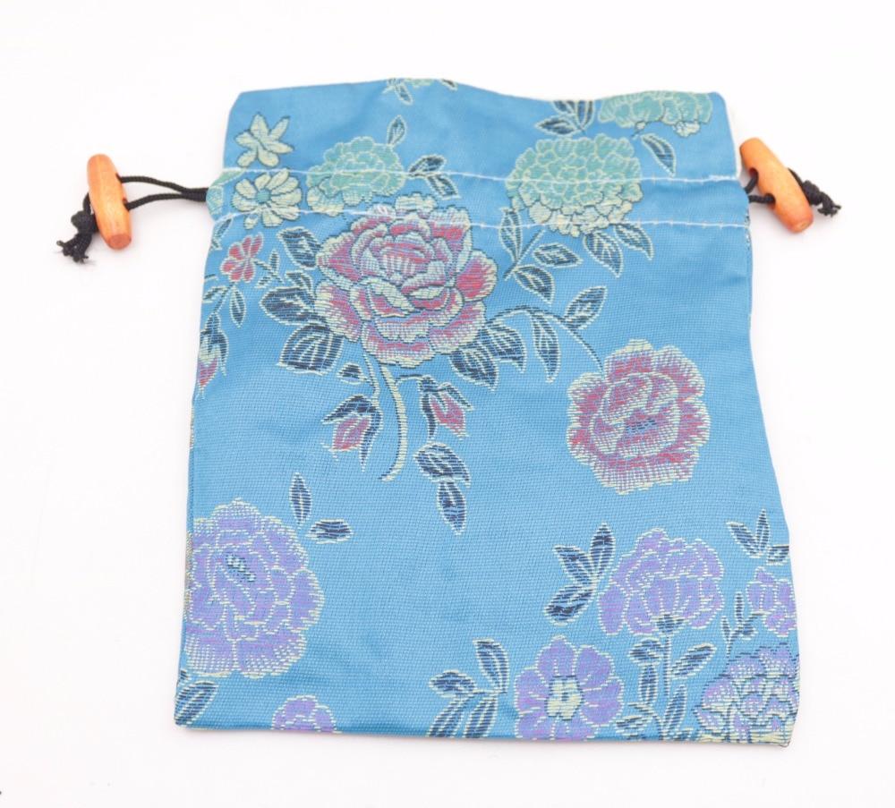 Купить с кэшбэком 10pcs Brocade multi color manmade silk cloth jewelry bag pouch wood