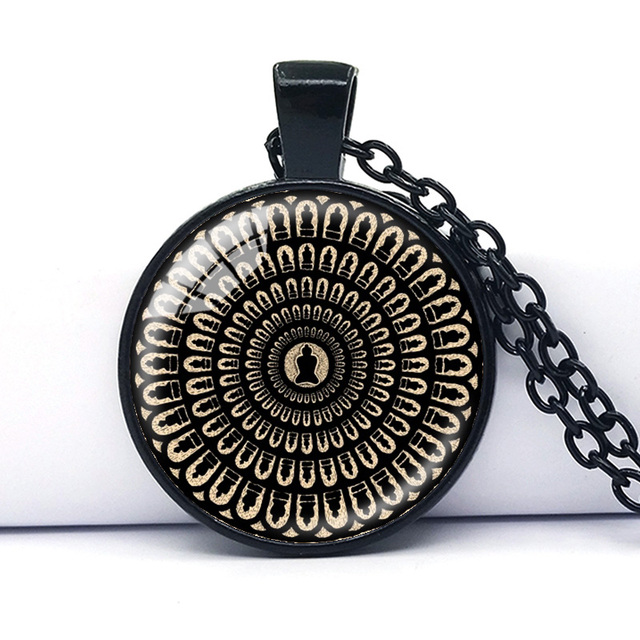 Mysterious mandala necklace sacred geometry jewelry spiritual mysterious mandala necklace sacred geometry jewelry spiritual accessory black buddhist om symbol yoga pendant for men aloadofball Gallery