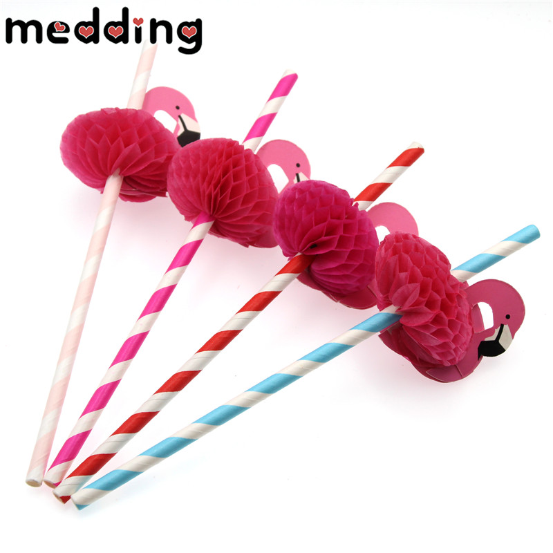 MEIDDING 50pcs 3D Flamingo Twill Paper Drinking Straws Baby Wedding Decor Kids Birthday Party Hen Party Pool Party Decor Supplie
