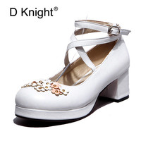 Lolita Shoes Women Pumps Round Toe Cross Straps Bow Cute Girls Princess Tea Party Shoes High Heels Student Lovely Shoes Size 48