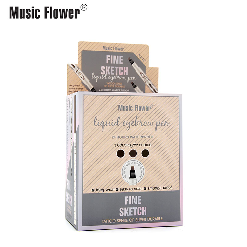 Music Flower 4 Pointed Liquid Eyebrow Pen Long lasting Fine Sketch Waterproof Tattoo Super Durable Quick
