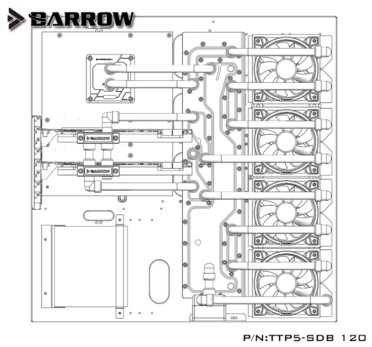 Купить с кэшбэком Barrow Acrylic Board as Water Channel use for TT Core P5 Computer Case use for Both CPU and GPU Block RGB to 5V GND 3PIN Header