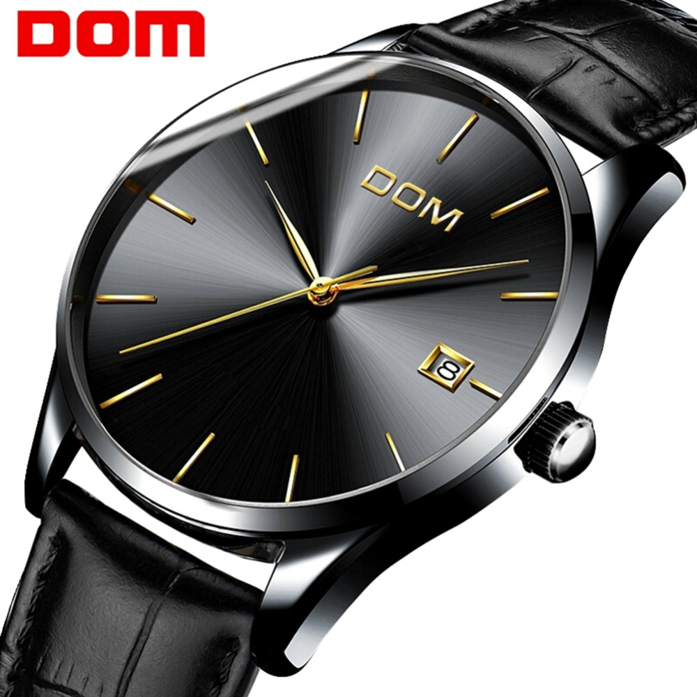 DOM Watches Men Top Luxury Brand Quartz Male Watch Fashion Casual Waterproof Leather Strap Black Wrist Watch Hot M-11BL-1M
