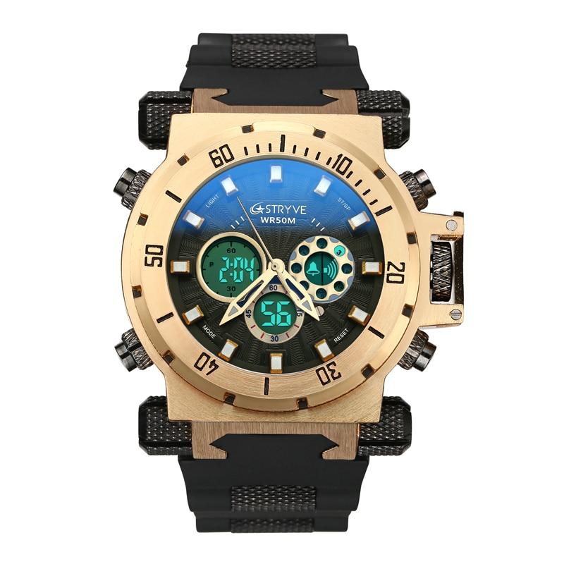 luxury STRYVE brand Men military sports watches Dual Time Quartz Digital analog Watch rubber band wrist watch relogio masculino
