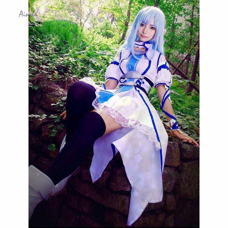 Ainlu Free Shipping Sword Art Online Yuuki Asuna Cosplay Costume SAO Asuna Aqua Blue Women Halloween Costume
