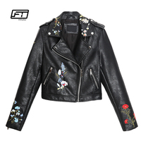 Fitaylor New Autumn Women Embroidery Leather Jacket Faux PU Leahter Punk Jackets Slim Biker Coat Floral