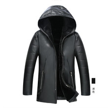 2016 new winter coat hooded men PU leather and fur coat middle-aged men's cashmere casual jacket men