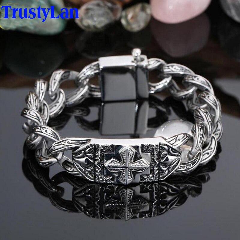 TrustyLan Retro Chain Link Bracelet Men 17MM Wide Heavy Cross Stainless Steel Men's Bracelets Cool Punk Male Jewelry Wristband-in Chain & Link Bracelets from Jewelry & Accessories
