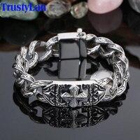 Retro Vintage Chain Link Bracelet Men 17MM Wide Heavy Cross Stainless Steel Men S Bracelets Cool