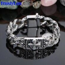 TrustyLan Retro Chain Link Bracelet Men 17MM Wide Heavy Cross Stainless Steel Mens Bracelets Cool Punk Male Jewelry Wristband