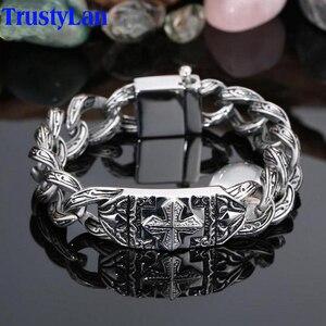 Image 1 - TrustyLan Retro Chain Link Bracelet Men 17MM Wide Heavy Cross Stainless Steel Mens Bracelets Cool Punk Male Jewelry Wristband