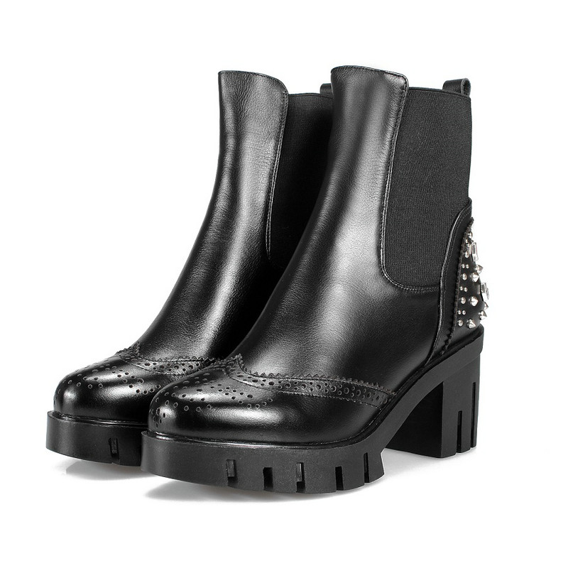 ФОТО Western Style Lady Winter Shoes Genuine Leather Woman Ankle Riding Boots Round Toe Rivet Black Female Motorcycle Boot Size 34-40