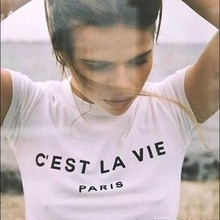 C'EST LA VIE Paris France Ladies Tee Women Short Sleeve Funny Tumblr Graphic Tsh