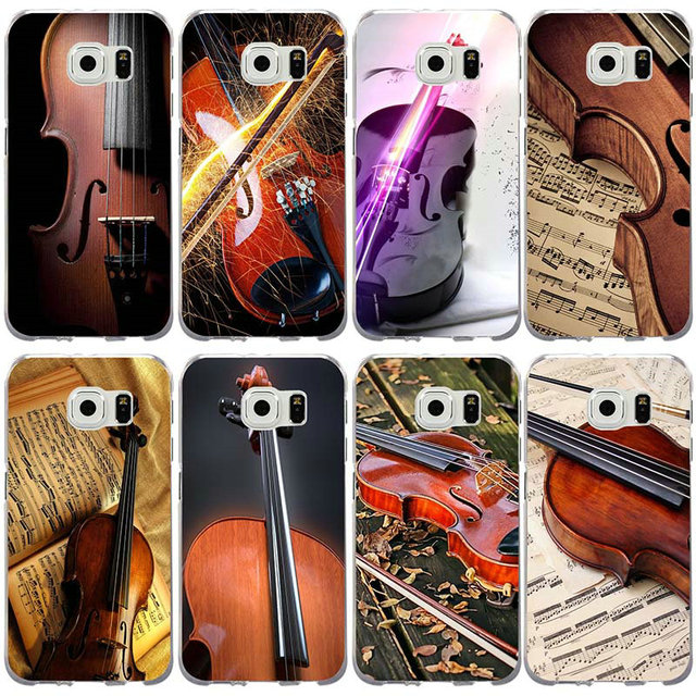 Casos de silício para Samsung Galaxy Nota 2 3 4 5 8 S2 S3 S4 S5 Mini S6 S7 S8 S9 borda Mais Violino Instrumento Musical Notas do Retrato