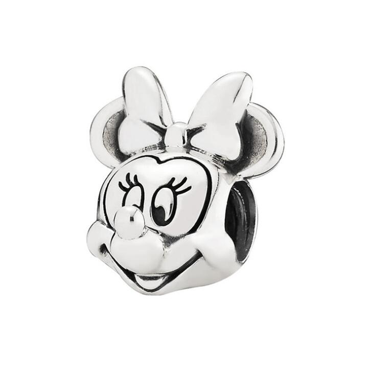 Authentic 925 Sterling Silver Minnie Mouse Beads Fit Pandora Charm Bracelets & Bangles Necklaces Fashion Women Jewelry