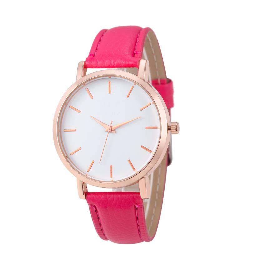 2018 Fashion simple Women Leather Strap watches sport Casual Analog Quartz Watches Business Elegant Round Shape Wristwatch