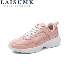 2018 LAISUMK Soft Leather Lace-up Casual Shoes Students Breathable White Shoes Slipony Spring Summer Women Footwear Sneakers