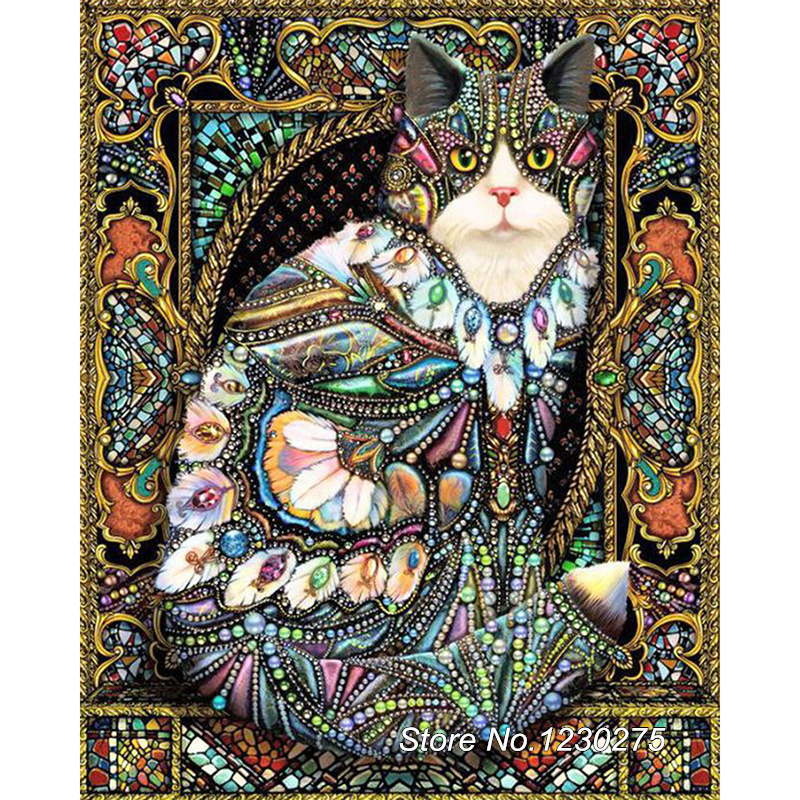 Embroidery Painting Rhinestones Diamond-Painting Cross-Stitch Cat-Needlework BD795 DIY