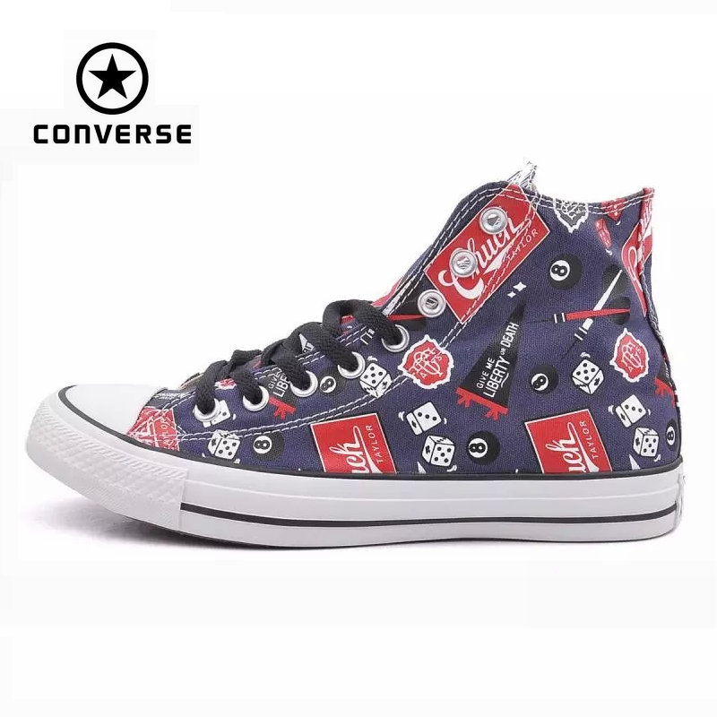 Original Converse all star shoes men sneakers Hand-painted graffiti canvas shoes men high classic Skateboarding free shipping original nike classic cortez nylon men s skateboarding shoes 532487 sneakers free shipping