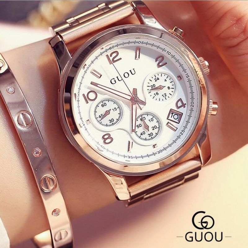GUOU Brand Watch Women Watches Luxury Rose Gold Ladies Watch Stainless Steel Women's Watches Clock relogio feminino reloj mujer