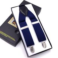 Free Shipping Fashion Leather Alloy 4 Clips Male Vintage Casual Suspenders Commercial Western Style Trousers Man