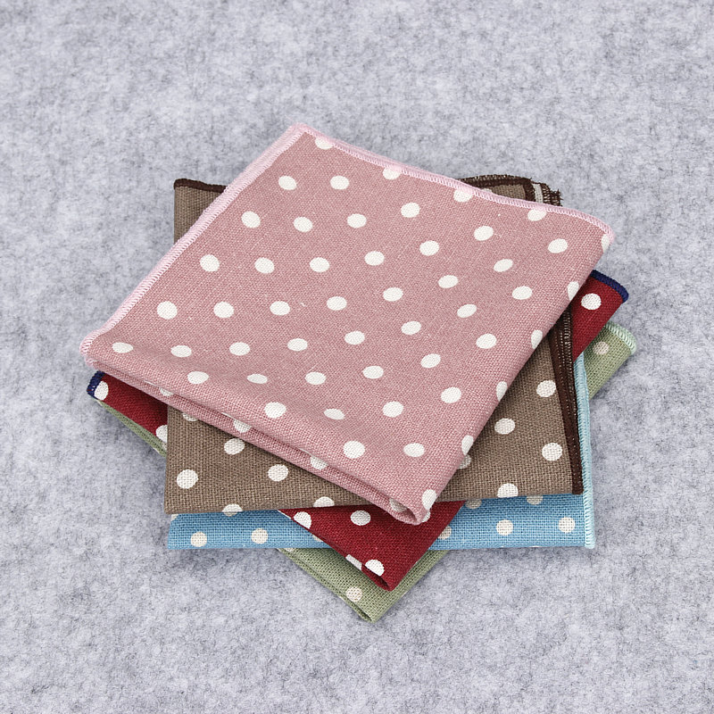 Brand New Men Suits Linen Dot Handkerchiefs For Man Vintage Pocket Square Hankies Men's Casual Square Pockets Hanky Towel 25*25