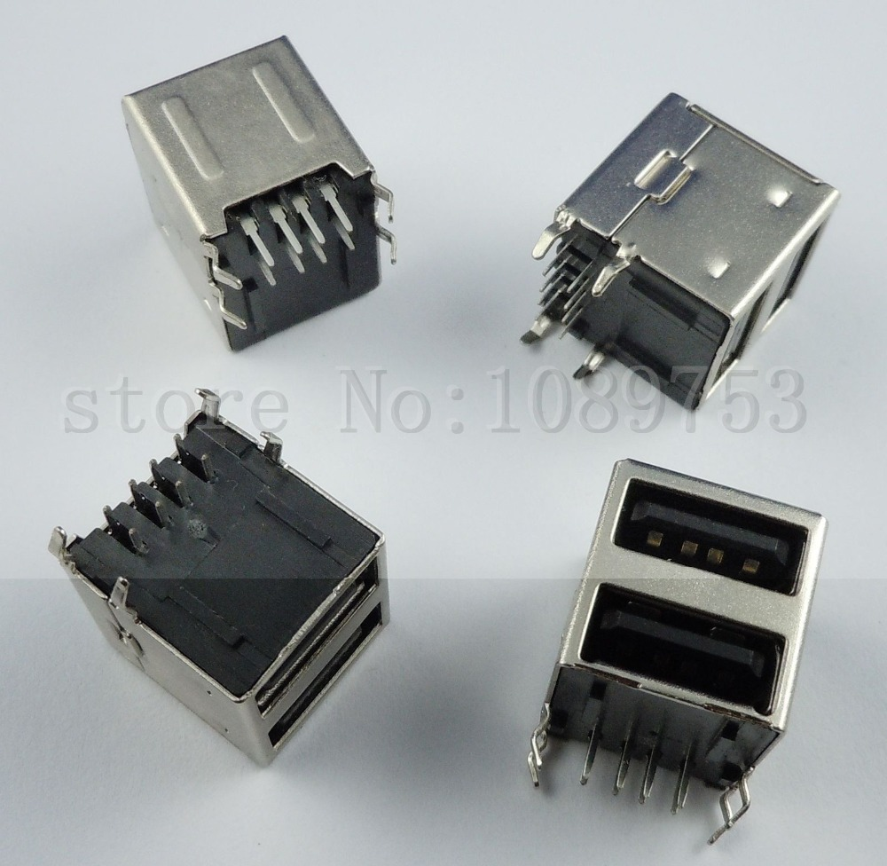 High quality 5Pcs Dual USB Type-A Female 8 Pin Socket Connector DIY 10pcs high quality usb 2 0 4pin a type