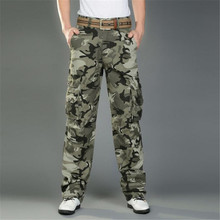 Free shipping Men's Combat Multi-Pockets Utility Casual Loose Long Full Length Cargo Pants Work Trousers Camouflage Size 28-38