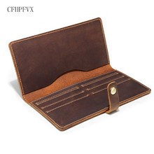 Vintage Multi-Card Bit Long Wallet First Layer of Real Leather Men's Purse Crazy Horse Leather Busniess High-Capacity Men E009