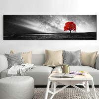 Canvas HD Prints Posters Home Decor Living Room Wall Art Red Tree Art Scenery Paintings Landscape Pictures Framework