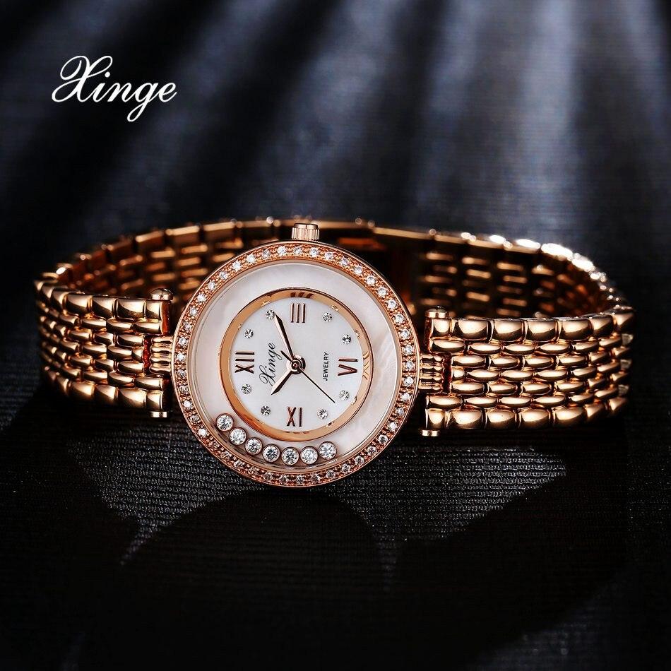 Women Bracelet Quartz Watch Xinge Top Brand Luxury 3A Zircon Crystal Bracelet Wrist Watch Women Dress Business Fashion Watch oval shaped rhinestone crystal zircon bracelet purple golden