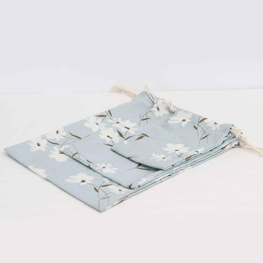 Prático Dobrável Sacos de Cordão de Linho de Algodão Dos Homens Das Mulheres Sacos de Mão Bolsa de Armazenamento de Grande Capacidade Saco de Viagem Portátil